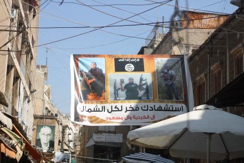 Al Qaeda banners in the souqs