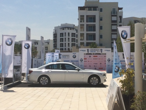 The Entrepreneur's Conclave set-up at OmanSail, prominently featuring BMW, our sponsor